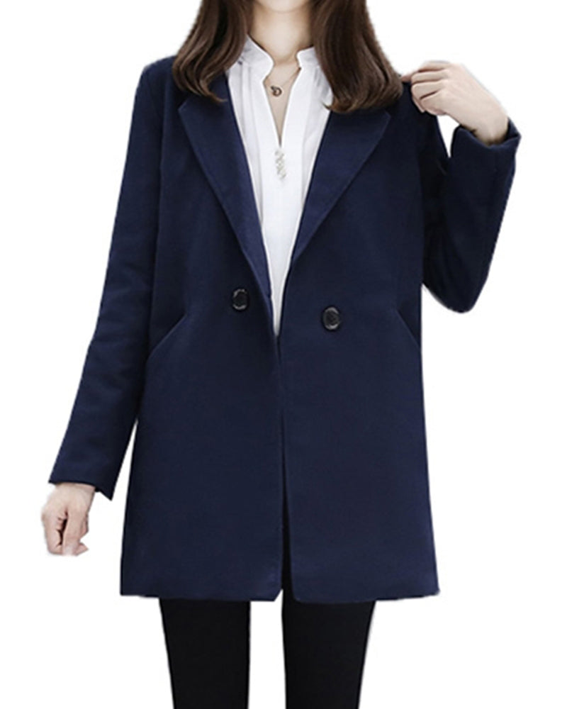 Solid Long Sleeve Loose Coats