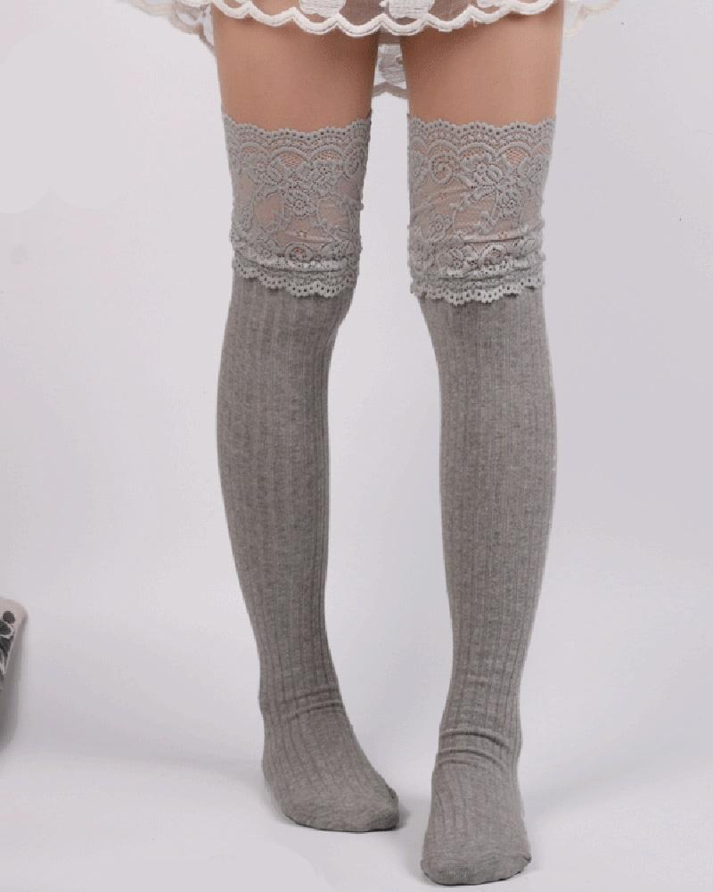 Lace Trim Over The Knee Socks