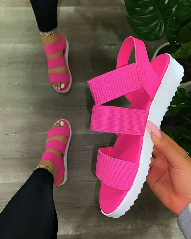 Round-toe Solid Color Straps Open-toe Platform Sandals