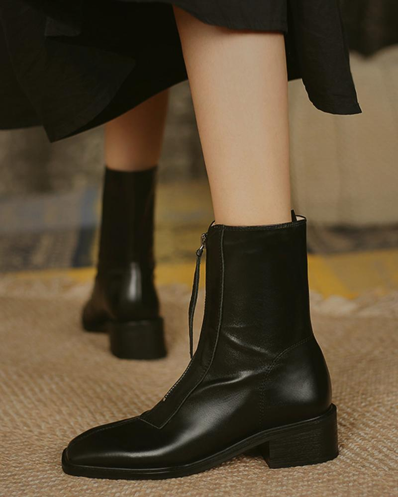 Solid Square-toe Low Heel Boots