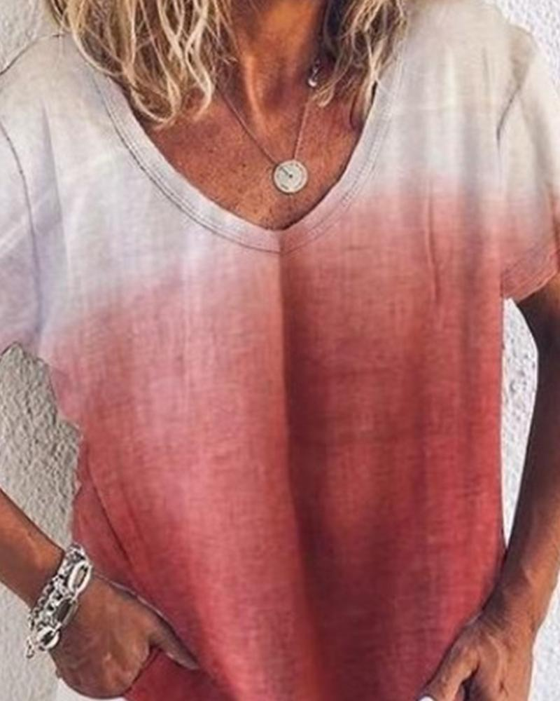 V Neck Ombre T-Shirt