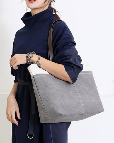 Colorblock Retro Canvas Handbag Shoulder Bag