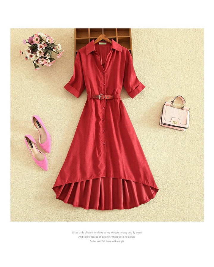 Solid Short Sleeve Lace-UP Waist Loose Shirt Dress