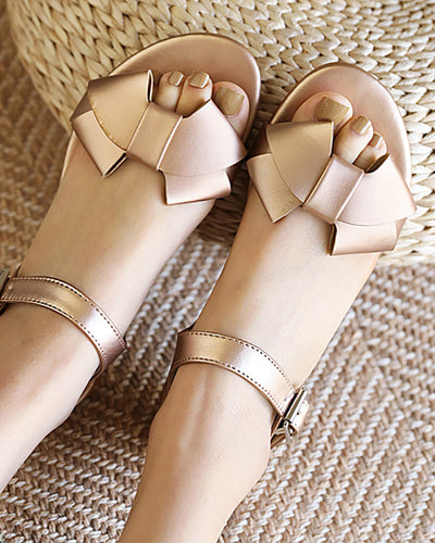 Solid Bowknot Upper Open-toe Round-toe Flat Sandals