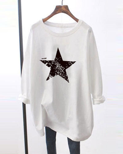 Star Printing Long Sleeve T-shirt