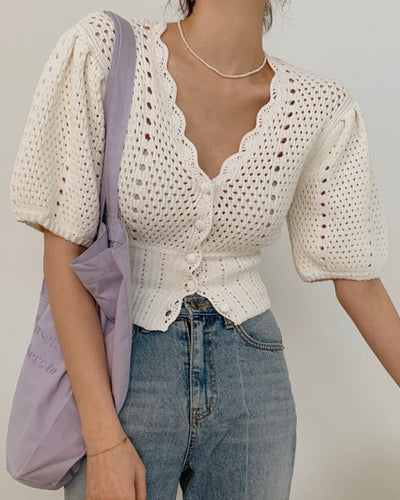 Solid Color Puff Sleeve Knitted Shirt