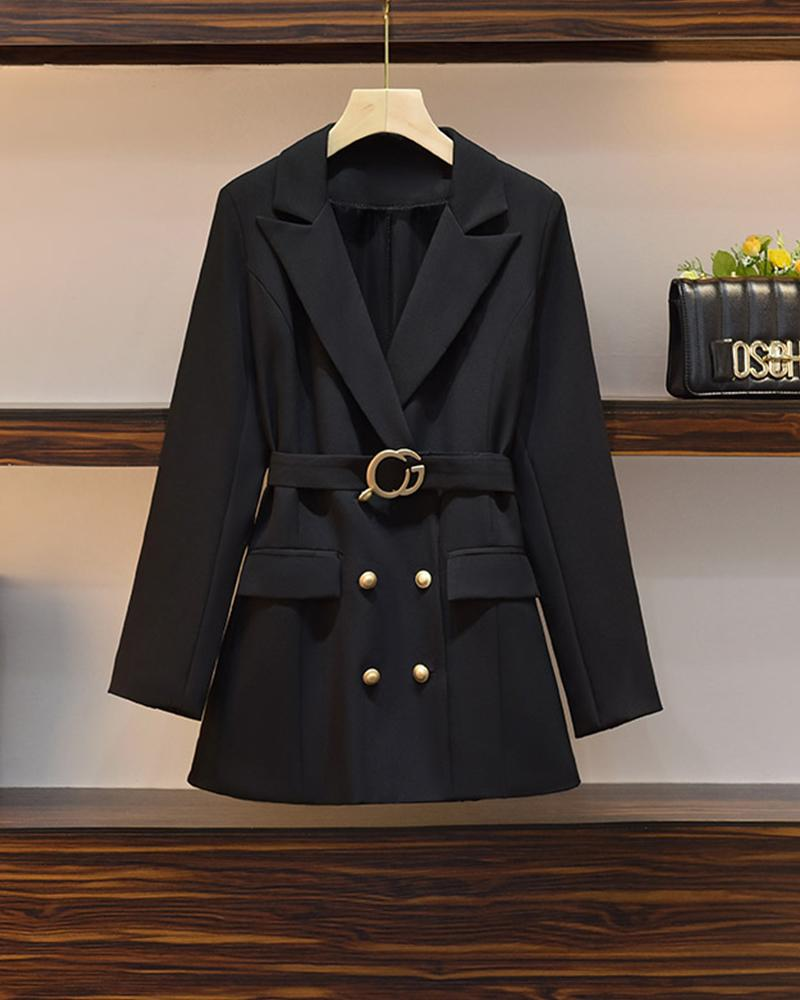 Solid Color Skinny Waist Long Sleeve Suit Coat
