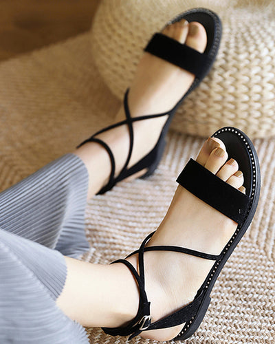 Solid Round-toe Cross Bandage Flat Sandals