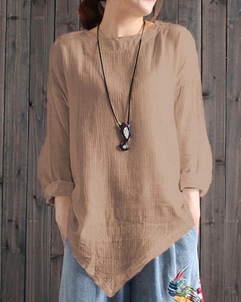 Linen Asymmetric Long Sleeve Top