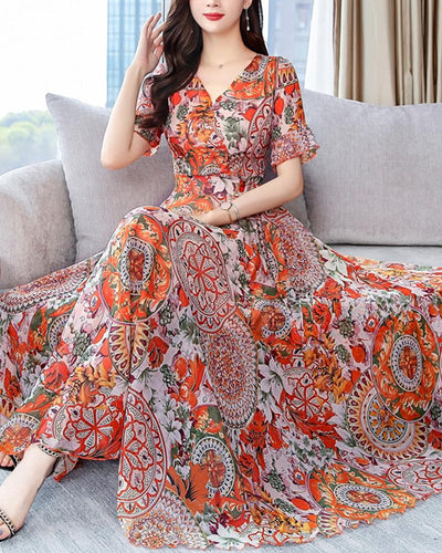Boho Print V-neck Chiffon Dress