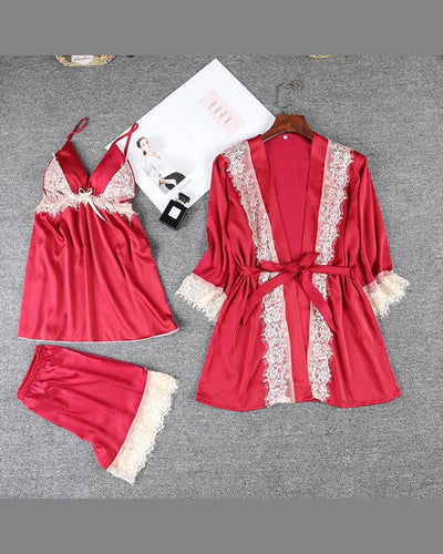 Lace Detail 3Pcs Pajama Set