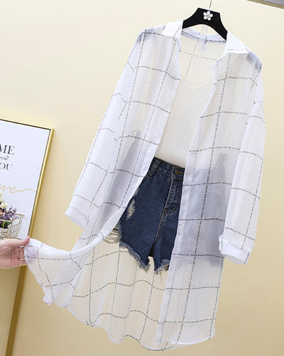 Plaid Long Sleeve Button-up Cover Ups Blouse