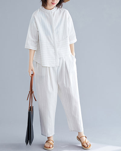 Solid Color Short Sleeve T-shirt And Baggy Pants Suit Sets