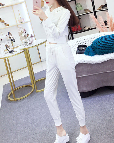 Solid Long Sleeve Hooded Sweatshirt With Pants Suit Sets