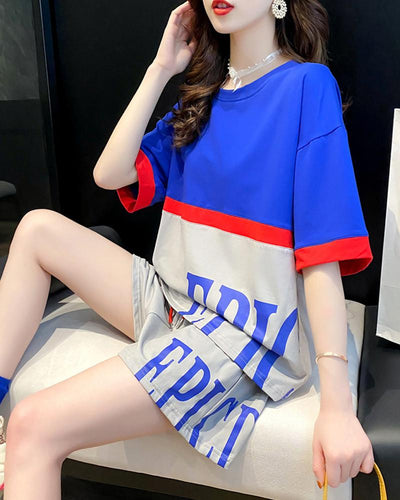Color Block T-Shirt & Shorts