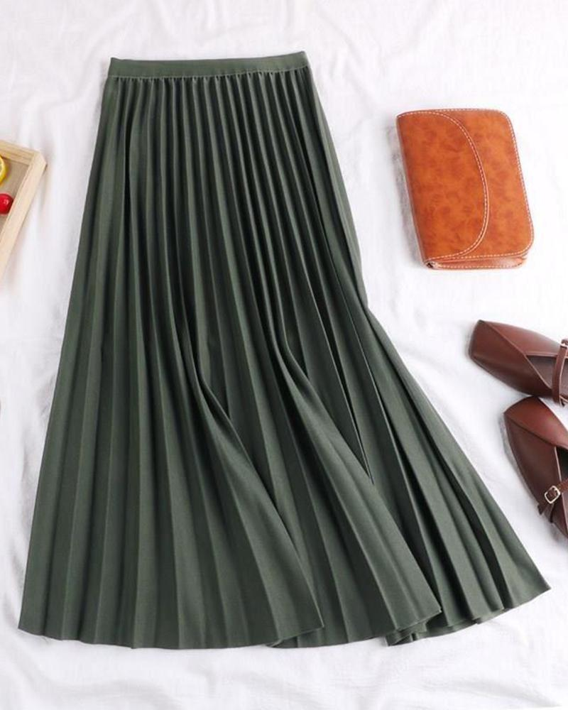 Solid Pleated Midi Skirt
