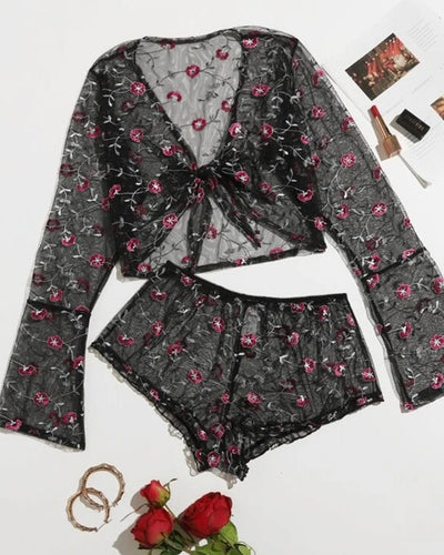 Floral Embroidery Long Sleeve Strappy Blouse With Shorts Sexy Sets
