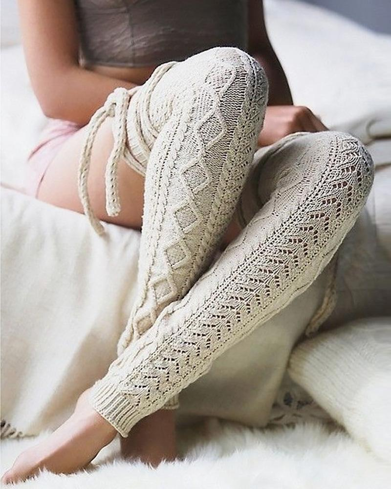Braided Hollow Out Knit Lace-up Socks