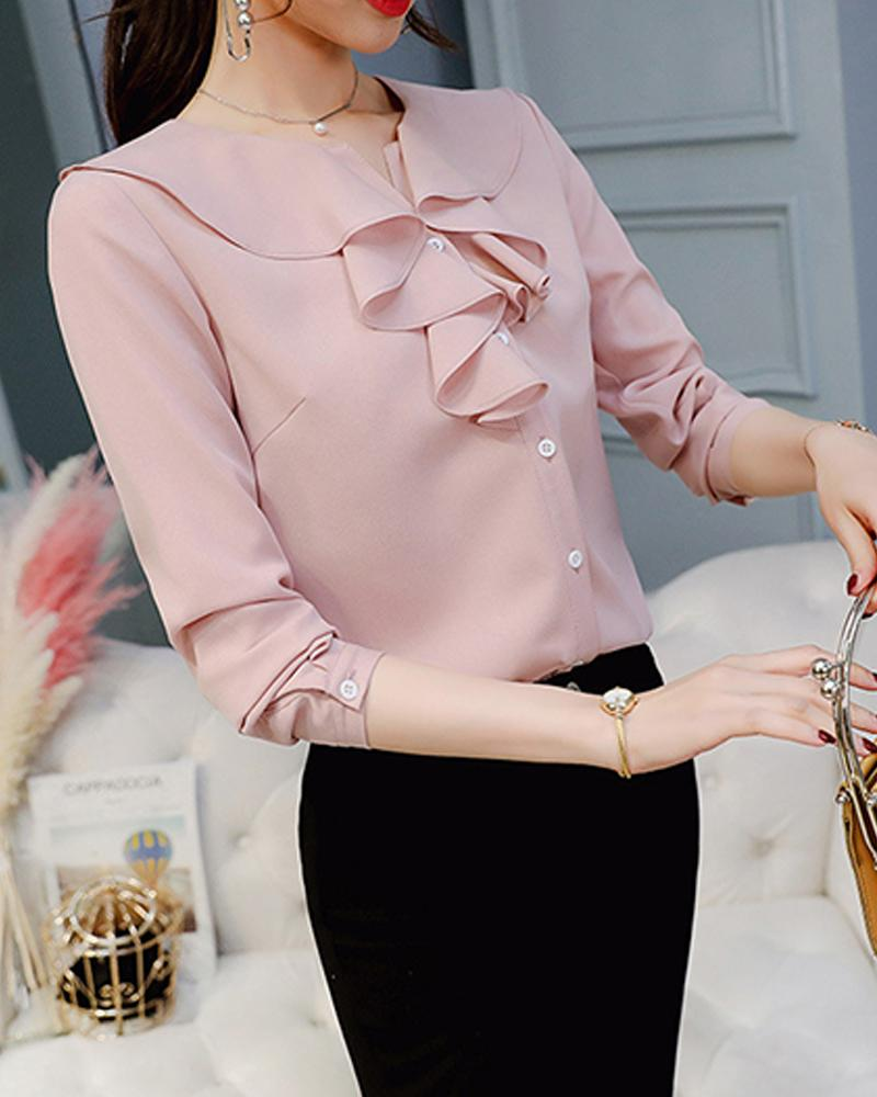 Ruffle Neck Button-Down Blouse