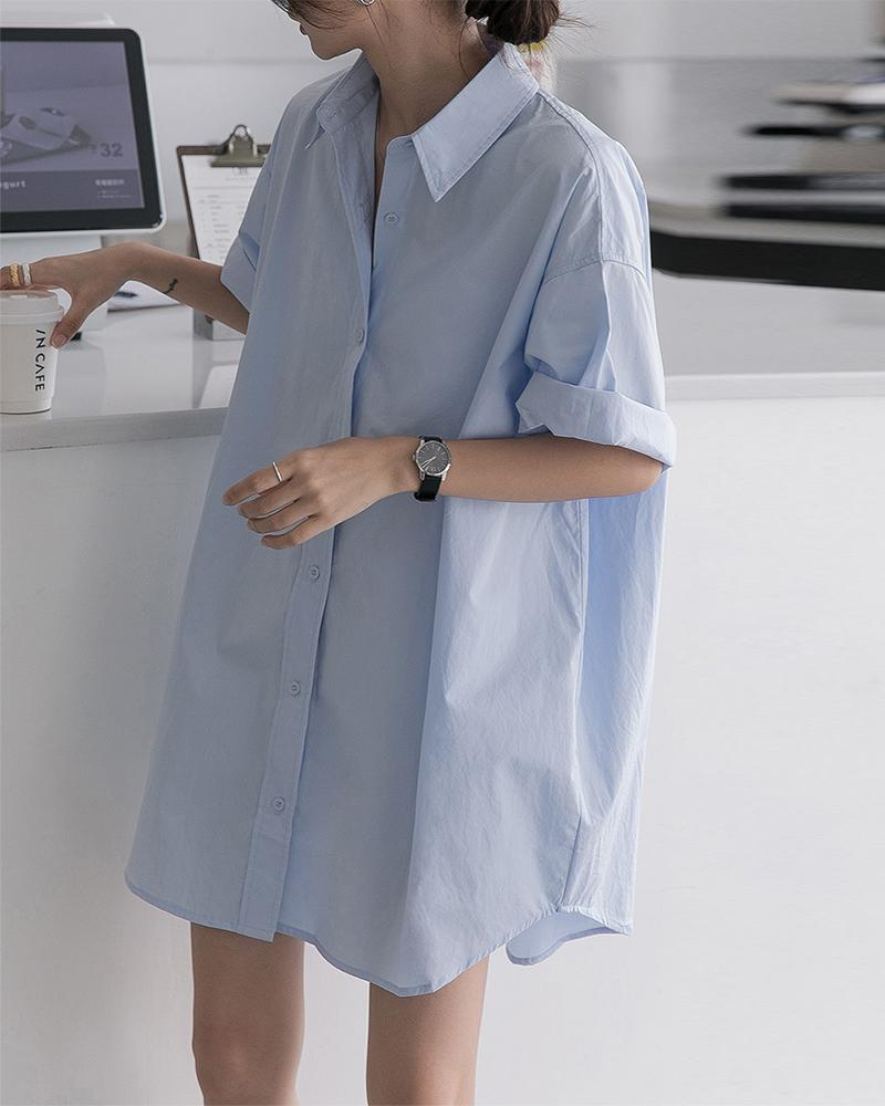 Solid Short Sleeve Loose Blouse
