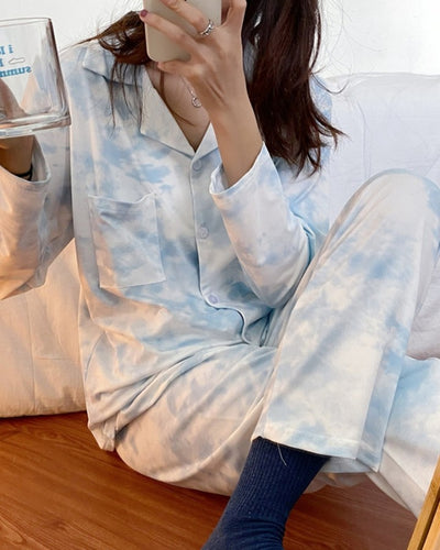 Tie Dye Long Sleeve Blouse With Pants Pajamas Sets
