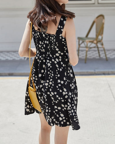 Daisy Print Buttons Sling Mini Dress