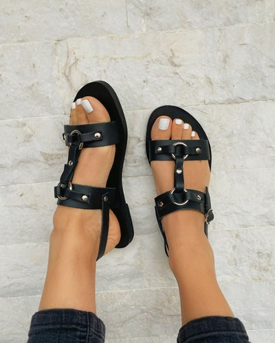 Studded Cut-out Open-toe Flat Sandals