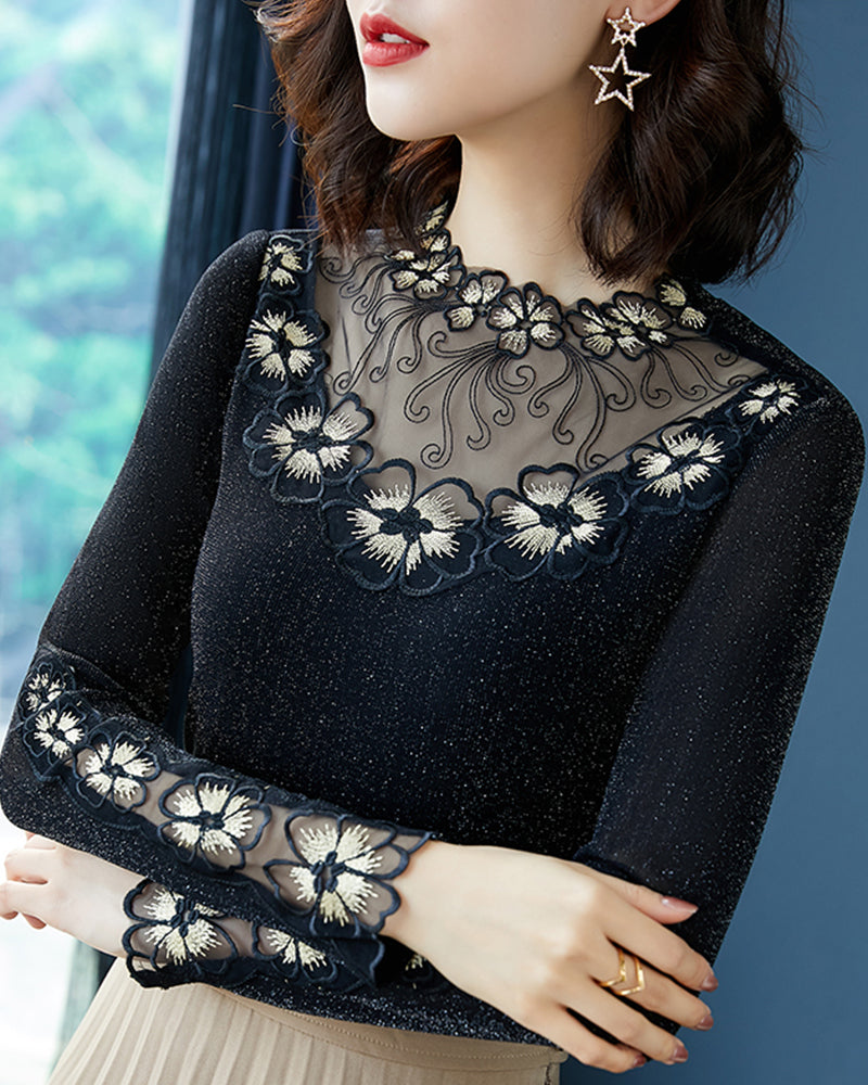 Flower Embroidery Long Sleeve Skinny Mesh Patchwork T-shirts