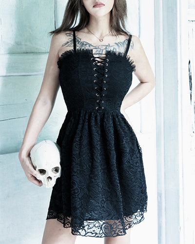 Gothic Style Solid Color Splicing Lace Sling Lace-up Mini Dress