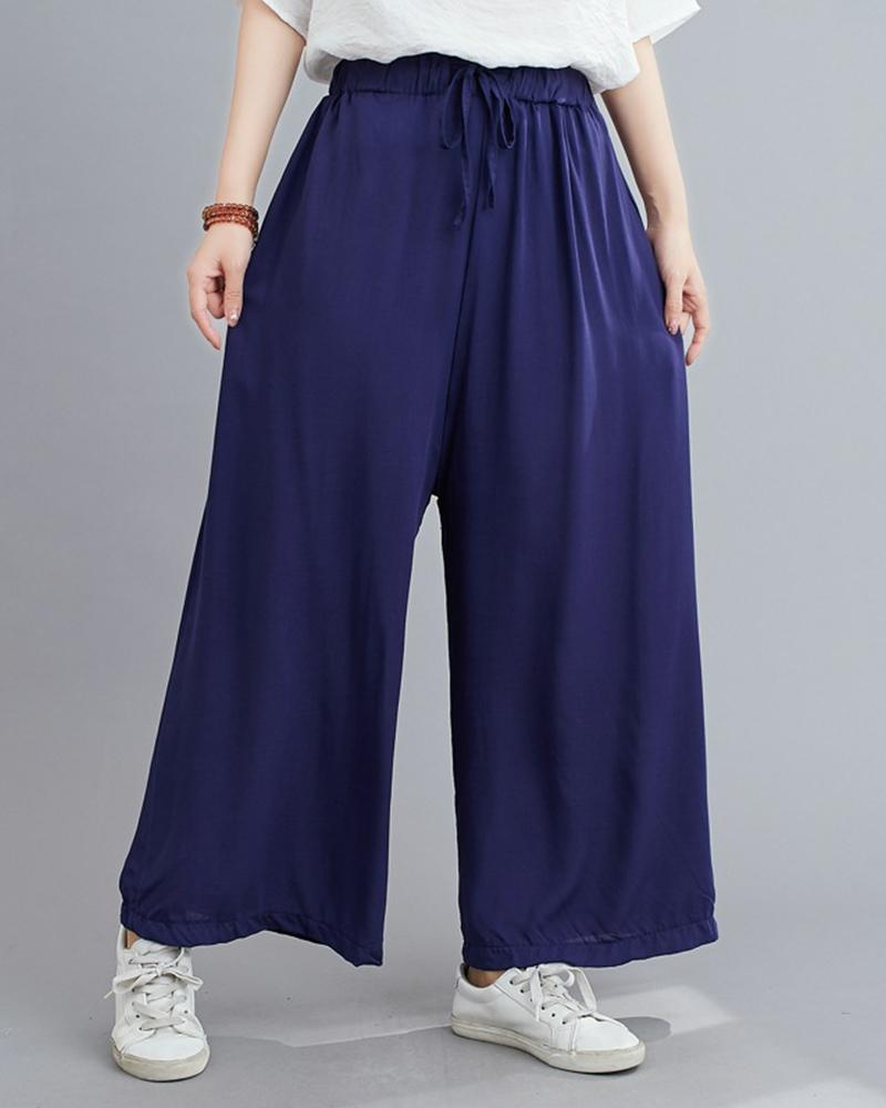 Solid Loose Elastic Waist Pants
