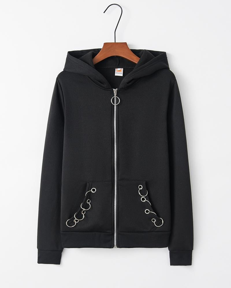 Loose Solid Hooded Long Sleeve Cardigan