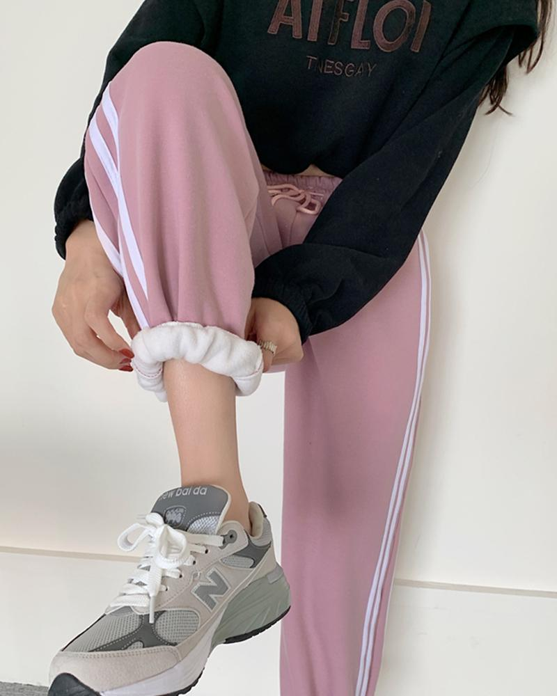 Color Block Lace-up Pencil Loose Sweatpants