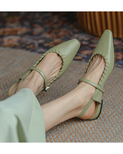 Square-toe Solid Color Splicing Buckle PU Leather Flat Shoes
