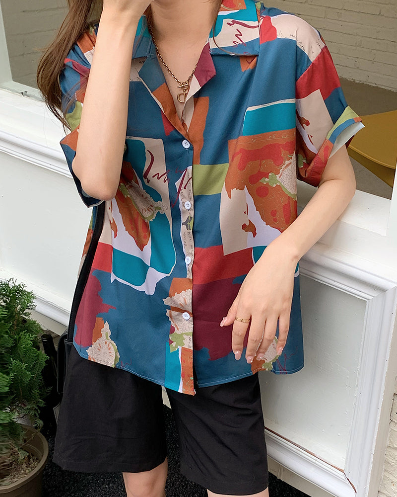 Multicolor Abstract Print Short Sleeve Loose T-shirt