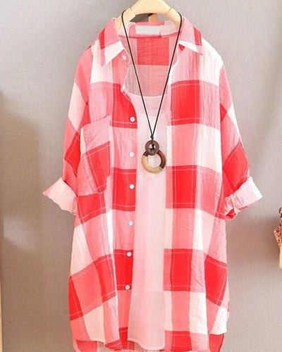 Plaid Long Sleeve Tunic Shirt