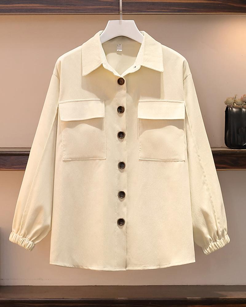 Solid Color Long Sleeve Shirt Coat