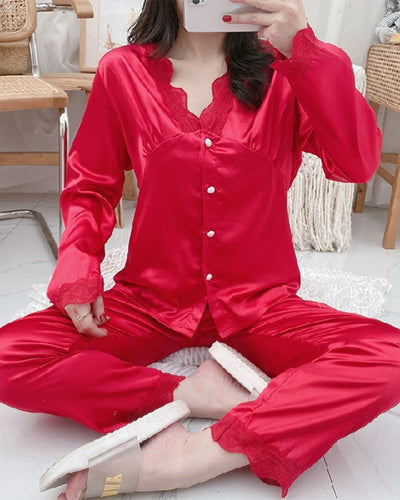 Solid Color Splicing Lace Long Sleeve 2-Piece Pajamas Sets