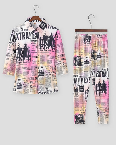 Gradient Color Newspaper Print Long Sleeve Shirt And Long Pants Suit Sets