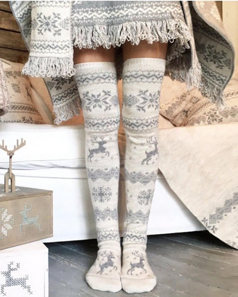 Christmas Mixed Print Over The Knee Socks