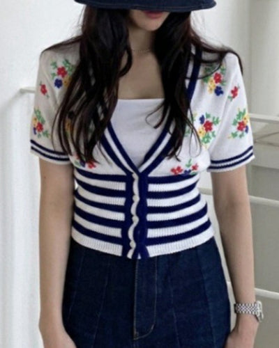 Splicing Floral Embroidery Short Sleeve Skinny Knitted T-shirt