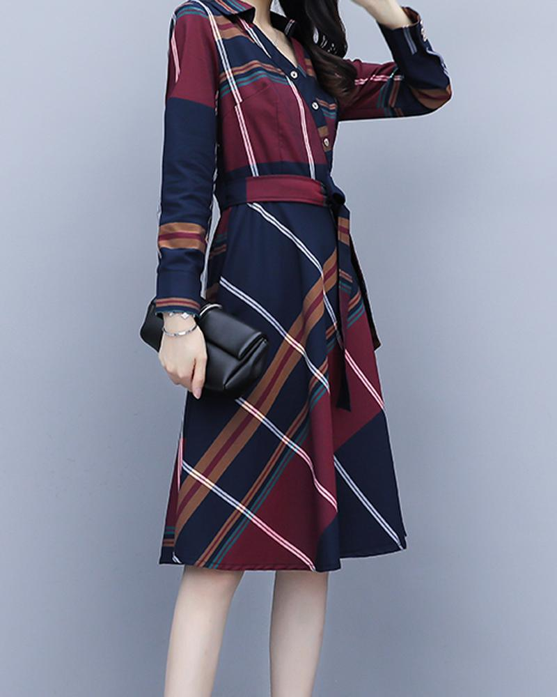 Big Checked Long Sleeve Skinny Waist Shirt Dress