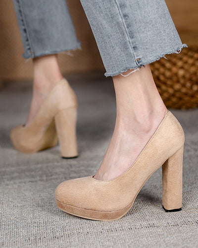 Round-toe Solid Color Suede Platform High Heels