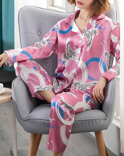 Patterns Print Long Sleeve Loose Button-up Blouse With Pants Pajamas Sets