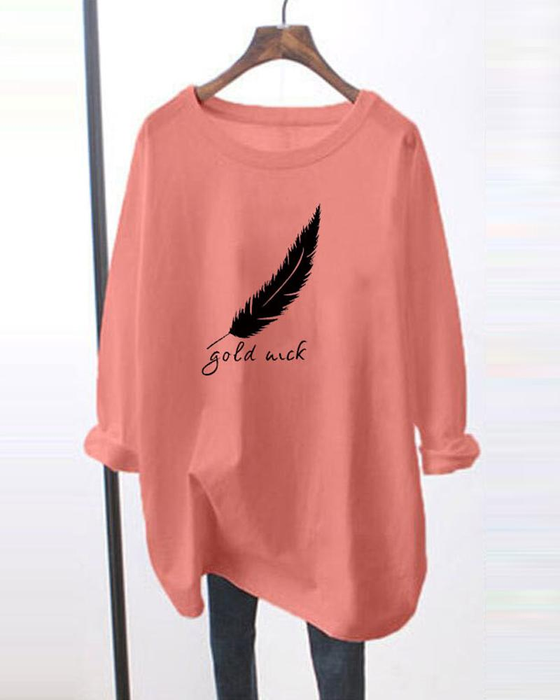 Feather And Letter Printing Long Sleeve Blouse