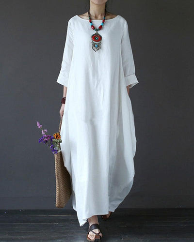 Linen Maxi Shift Dress
