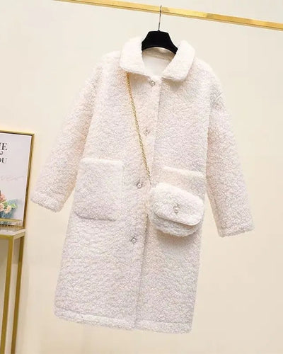 Solid Long Sleeve Faux Fur Patchwork Coats With Mini Shoulder Bag