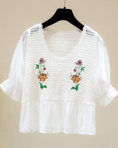 Floral Embroidery Short Sleeve Cut-out Blouse