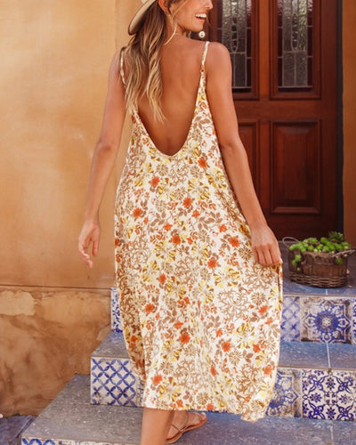 Floral Print Backless Sling Maxi Dress