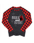 Christmas Tress And Letter Printing Plaid Long Sleeve Blouse