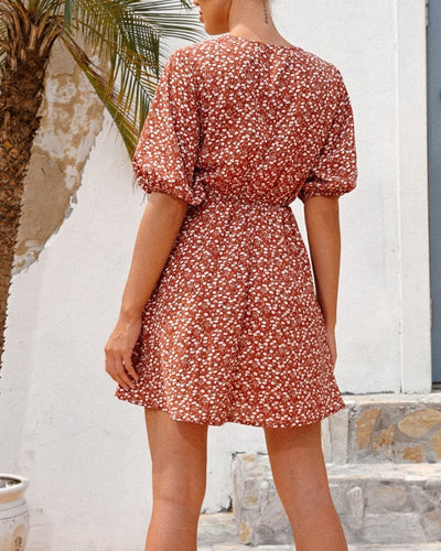 All Over Print Bow Puff Sleeve Mini Dress